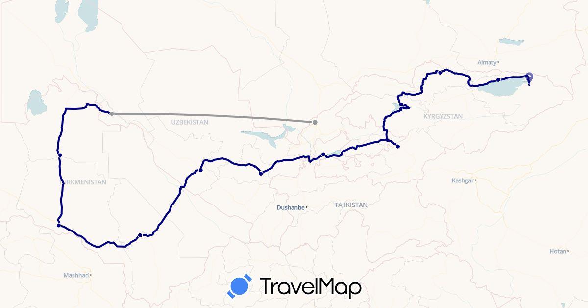 TravelMap itinerary: driving, plane in Kyrgyzstan, Tajikistan, Turkmenistan, Uzbekistan (Asia)