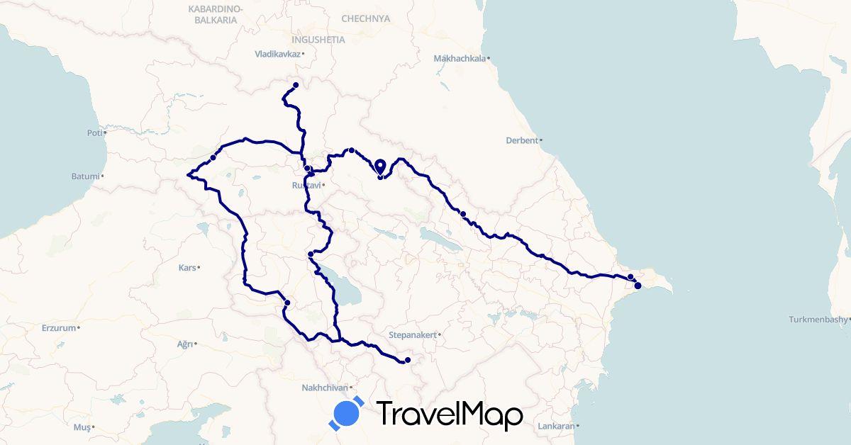 TravelMap itinerary: driving in Armenia, Azerbaijan, Georgia (Asia)