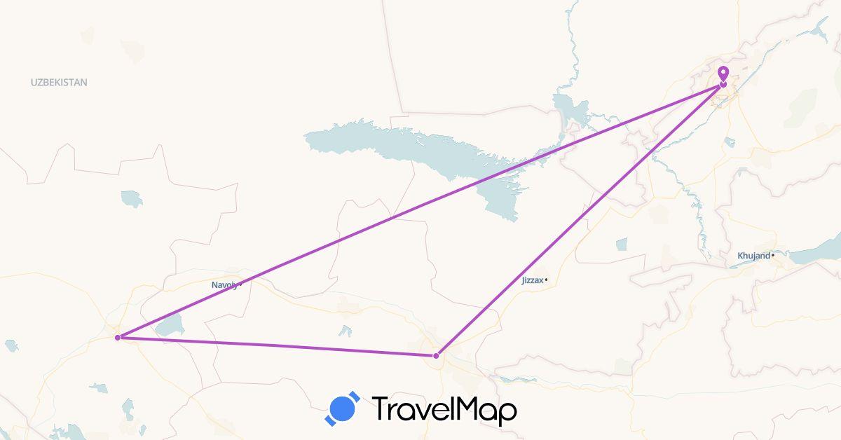 TravelMap itinerary: train in Uzbekistan (Asia)