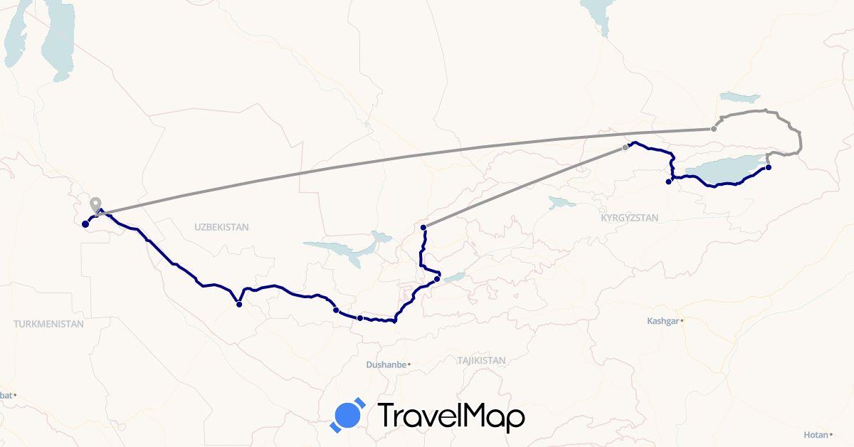TravelMap itinerary: driving, plane in Kyrgyzstan, Kazakhstan, Tajikistan, Uzbekistan (Asia)