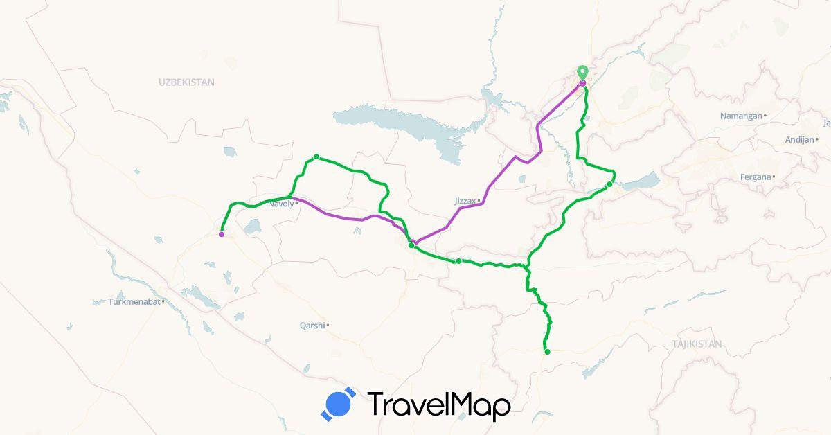 TravelMap itinerary: driving, bus, train in Tajikistan, Uzbekistan (Asia)