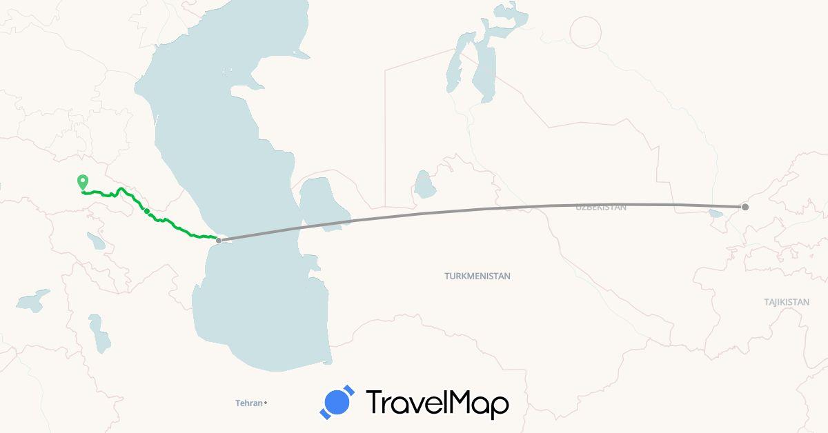 TravelMap itinerary: driving, bus, plane in Azerbaijan, Georgia, Uzbekistan (Asia)